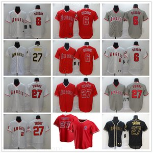 rojo camisetas de béisbol negro al por mayor-2020 New Seasons Baseball Mike Trout Jerseys cosida Anthony Rendon Mejor Calidad NK Estilo Oro Blanco Blanco Negro Gris Rojo Jerseys