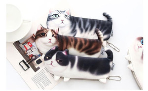 cute Three-legged cat pencil bag Korean version of the simulation printing cat stationery box storage pencil bag student supplies mixs