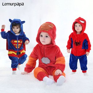 Wholesale Baby Animal Kigurumi Super Hero Rompers 0-3 Years Toddler Clothes Boy Girl Cartoon Onesie Zipper Flannel Warm Infant Kawaii SuitMX190912