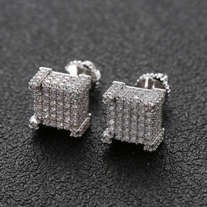 Wholesale square jewelry back for sale - Group buy Hip Hop Earrings for Men Gold Silver Iced Out CZ Square Stud Earring With Screw Back Jewelry