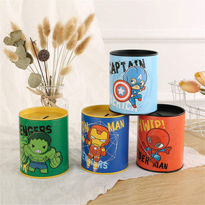 Wholesale Creative metal piggy bank pen stand Avengers brush pen storage box miracle piggy bank coin storage jar children holiday gift