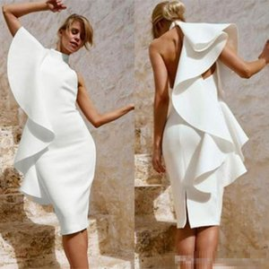 2019 Fashion Ruffles White Cocktail Dresses Slit Knee Length Sexy Arabic High Neck Sheath Evening Prom Gowns Short Pretty Woman Party Dress
