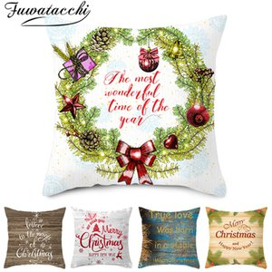 Wholesale Fuwatacchi Merry Christmas Tree Chshion Covers Flower Bell Wreath Throw Pillowcases for Home Sofa Couch Decorative Pillow Cover