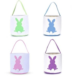 Easter Egg Basket Party Festival Decor Rabbit Bunny Printed Canvas Gift Kids Carry Eggs Candy Bag