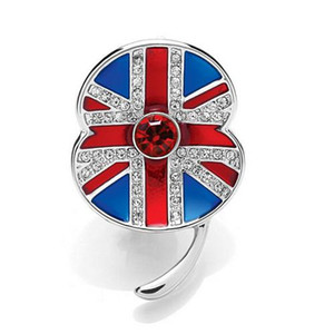 Wholesale 2019 New fashion Inch White Gold Tone Rhinestone Crystal British UK Flag Poppy Union Jack Brooch Remembrance Day Pins