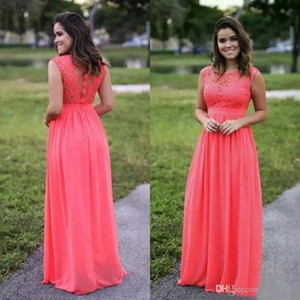 Wholesale scoop back bridesmaid dresses for sale - Group buy Scoop Neck Chiffon A Line Bridesmaid Dresses with Lace Embroidery Watermelon Long Formal Dress Zipper Back