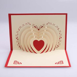 Wholesale 3D Heart Shaped Pop Up Card Lover Greeting Carads Wedding Invitaiton Cards For Valentines Day Anniversary Gift card