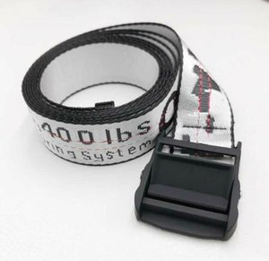 Wholesale fashion WHITE letter belt industrial style canvas embroidery belt tide men and women waist belts closure decoration
