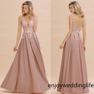 Wholesale bridesmaids dresses designs resale online - New Designed Dusty Pink Evening Dresses Sexy Hollow Backless V Neck Appliqued Prom Dress A Line Mother Bridesmaid Gowns CPS1343