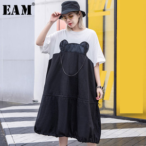 Wholesale EAM New Spring Summer Round Neck Half Sleeve Chain Stitch White Hit Color Stitch Bgi Size Dress Women Fashion Tide JS599