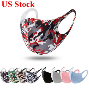 Wholesale face masks resale online - US Stock Protective Face Masks Ice Silk Camo Print Anti Dust PM2 Breathable Washable Mouth Designer Face Masks DHL Shipping