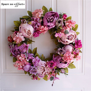 Wholesale Easter Wreath Light purple Flower Natural Rattan Garland Retro Door Wall Decoration Peony Artificial Wreath Wedding Decor