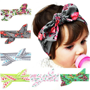 Wholesale 2018 New baby rabbit ear hair band DIY tie knotted cotton headband Bohemia Christmas Baby topknot packing no knotted
