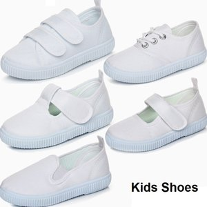 Wholesale Kids White Shoes Student Dance White Shoes Kids Canvas Casual Shoes White Sports Runing Dancing Shoe 5 Styles