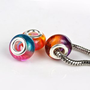 Wholesale 14mm Mixed Color Silver Plated DIY Acrylic Beads Charms Loose Big Hole Fits For European Jewelry Bracelet