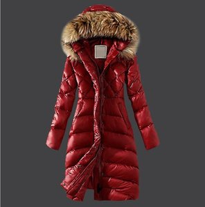 Wholesale Hot Fashion french design Women s Down jackets coat warm coat women winter downs jacket Raccoon fur collar Hooded Long Down Parka Coats