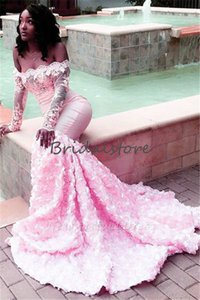 Wholesale hot sale black girls mermaid prom dresses off the shoulders long sleeves lace slim formal evening gowns rose floral fishtail prom dress 2019