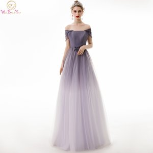 Purple White Gradient Color Evening Dresses 2019 Long Off Shoulder Tulle Boat Neck Short Sleeves Beaded A Line Prom Gown Formal