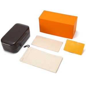 Brand Box Case For Sunglasses Eyeglasses Protective Eyewear Accessories Packaging Case Classic Brown yellow Brown leather hard case
