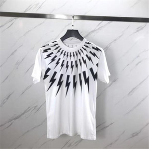 Wholesale Luxury Summer T Shirt Collar White Lightning Printing Short Sleeve Designer Shirts Men Women T Shirts Unisex Tees