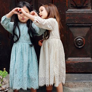 Fashion Dress Party Girl Long Lace Prom Dress With Flower Age Range 3 To 12 Baby Children Princess Green Cream Long Sleeved Dress Wedding