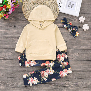 Wholesale Baby Girls Cartoon Set Infant Girls Solid Long Sleeve Hoodie Kids Designer Clothes Toddler Baby Outfits Floral Pants With Headband 06
