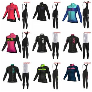 ALE team Cycling long Sleeves jersey bib pants sets 2018 women The New Breathable wear Compressed bicycle jersey Great value 2904L
