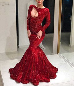 Wholesale Long Evening Dress New Arrival Sexy Mermaid Long Sleeve Cut Out Elegant Women Red Formal Evening Party Gowns robe de soiree