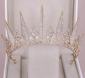 ingrosso grandi corone per il matrimonio-Gorgeous Princess Big Wedding Crowns Bridal Jewel Superficie Tiaderas Donne Argento Metallo Crystal Hewpiecs Europeo Accessori da sposa Accessori da sposa