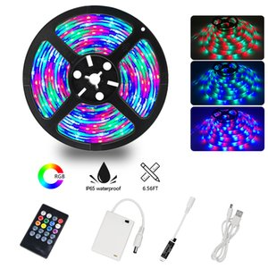 Wholesale Music LED Light Strip, 5V USB or Battery Powered Lights with 20Key Remote Control kit, 2835 RGB Lighting sync Music Changes 6.56FT 2M