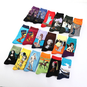 Wholesale Happy Socks Men Funny Art Dress Socks Color Men s Summer Fashion Set Print Van Gogh Art