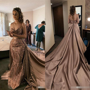 2020 Rose Gold Mermaid Prom Dresses Spaghetti Straps Satin Detachable Train Beaded Sequins Custom Made Formal Evening Party Gowns on Sale