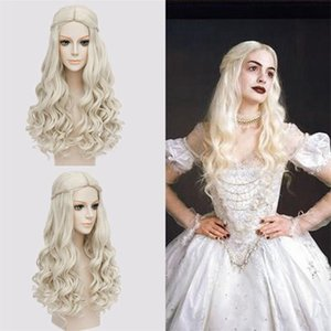 Wholesale New Halloween Anime Wig Alice In Wonderland Mirror In The Wonders White Queen Wig Party Masquerade Female Role Playing Long Curly Hair