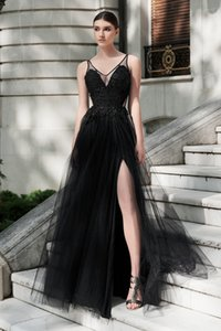 Wholesale dresses tull for sale - Group buy 2019 A line Black Gothic Long Colorful Wedding Dresses With Straps Sexy Deep V Neck Beaded Lace Tull Women Non White Wedding Reception Dress
