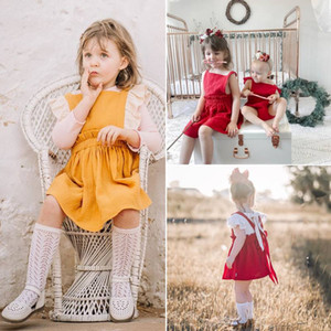 Wholesale Kids Baby Girl Summer linen cotton Dress Lovely red Party Costume Dress Sleeveless Princess Wedding Sundress