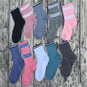 Grey Colors Stockings Mid-calf Crew Socks Fashion Long Socks Sports Football Cheerleaders Knee-High Socks Cotton Leg Warmers