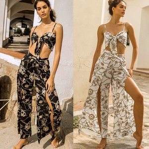 Wholesale Vintage Chain Print Women Two Piece Set Boho Lace Up Bow Bra Crop Top And Split Wide Leg Pants Suits Summer Casual Beach