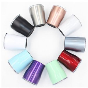 Wholesale 10OZ stainless steel curve tumbler double wall insulation vacuum water car cup rainbow color coffee mugs Beer Mug Wine Glasses T2I55286