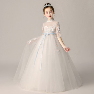 Romantic Flower for Wedding 2019 New Long Lace Dress for Girls Elegant Dress for Girls with a Floral Pattern