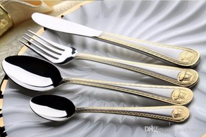 Wholesale Medusa Head Gold Cutlery Stainless Steel Flatware Set Tableware Dinnerware Knife Spoon Fork New