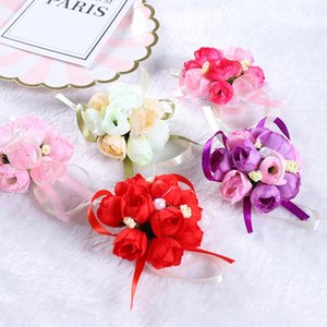 Wholesale decorative bracelets resale online - Wedding Wrist Flower Bridal Prom Hand Simulation Flowers Bracelet Bridesmaid Sisters Wrist Corsage Decorative Flower set LXL460 A