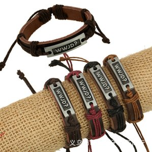 Wholesale Export Trade Jewelry Cowhide Religion Wwjd I Love Jesus Genuine Leather Bracelet