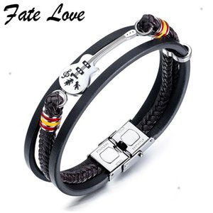 Music Guitar Men Bracelet Hip Hop Jewelry Pulseira Masculina Mens Multi-Layer Leather Bracelets Stainless Steel Mens Jewellery