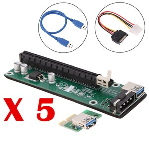 Wholesale 5 USB PCI E PCI Express x to x Extender Riser Board Card Adapter with SATA Power Cable and USB Cable
