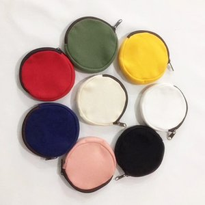 Wholesale Colorful blank Round canvas zipper pouches cotton cosmetic Bags makeup bags Cotton canvas coin purse LX0733