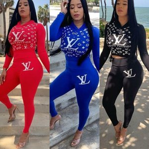 women brand tracksuit designer two piece set letter print long sleeves hooded and long pant fashion skinny pullover women clothes klw2211
