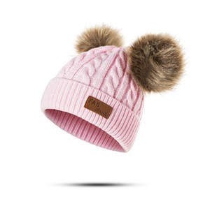 Wholesale New Children Knitted Cap Crochet Winter Warm Hats Double Big Ball Wool Cap Cute Baby Imitation Raccoon Hair Ball Hat