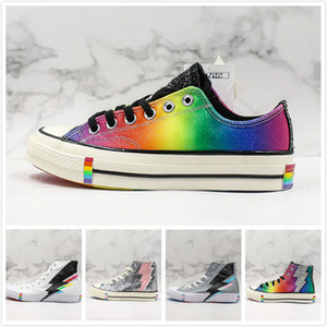 Wholesale Upcoming Rainbow Lightning Low High Casual Trainer White Grey Multicolors Sequin Designer Canvas Shoes Men Womans Sports Sneaker