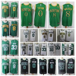 Wholesale 2020 City Boston Celtics Kemba Walker Jayson Tatum Larry Bird Edition Stitched Shirts Swingman Basketball Jerseys Green shirt