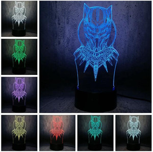 Wholesale New Hot Marvel Movie Superhero Legends D Black Panther Action Figure Color Change LED Night Lights Sleeping Decor Lamp Holiday Xmas Gifts
